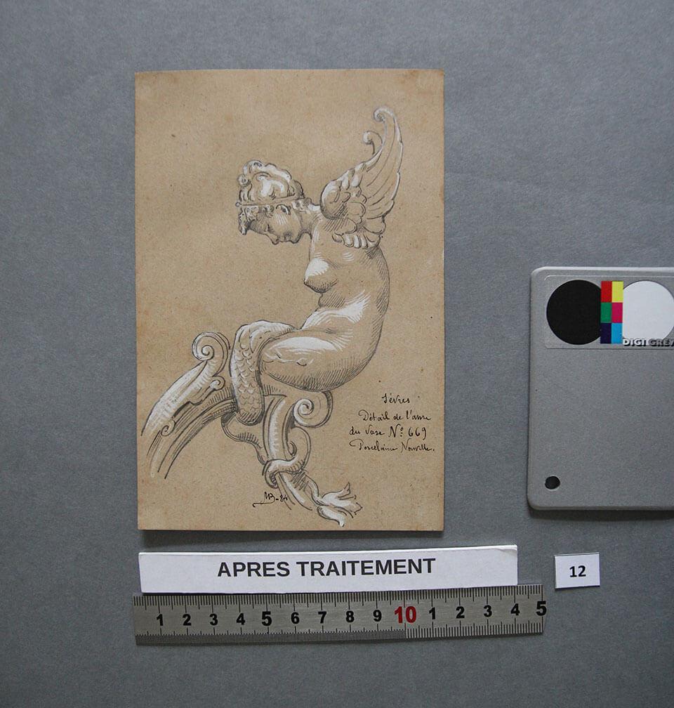 Traitement des pigments blancs oxydés (blancs de plomb) par les polluants de l'air, recueil de dessins à la gouache de M. Borrel, Collection Musée National Adrien Dubouché